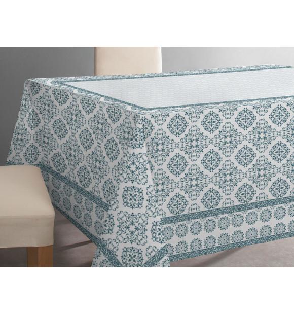 Toalha de mesa de algodão branco com padrão turquesa