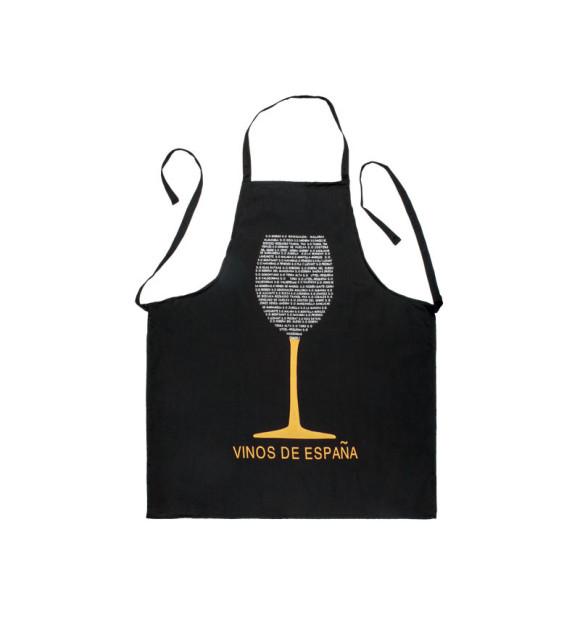 Avental preto com desenho de taça de vinho