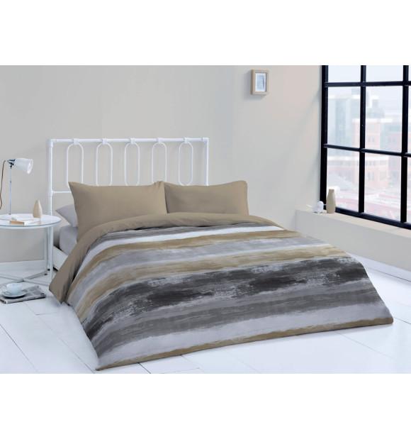 Funda nórdica moderna de rayas en tonos gris y mostaza