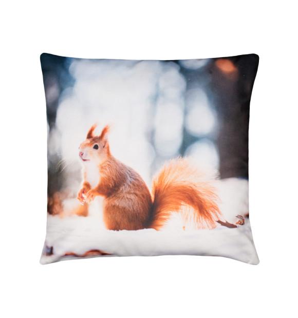 Almofada com estampa de esquilo