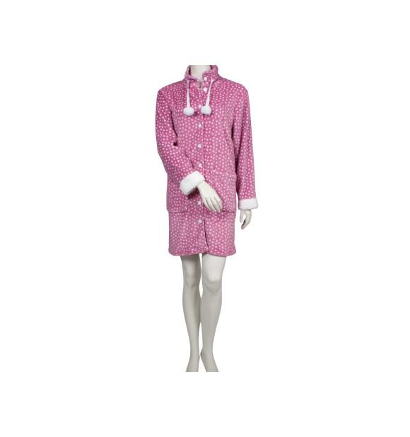 Bata sedalina rosa con lunares blancos
