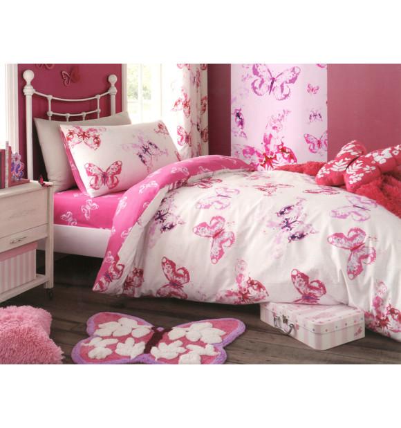 Funda nórdica infantil blanca con mariposas rosas