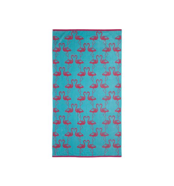 Toalla azul con dibujos de flamencos