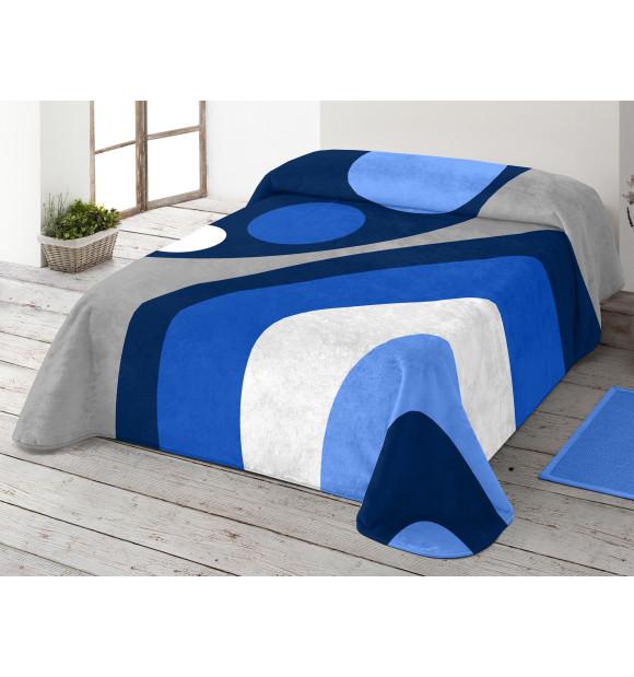 Manta de terciopelo en tonos azules y grises