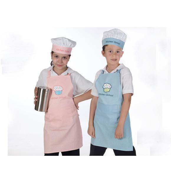 Conjunto Delantal y Gorro Chef Intantil School