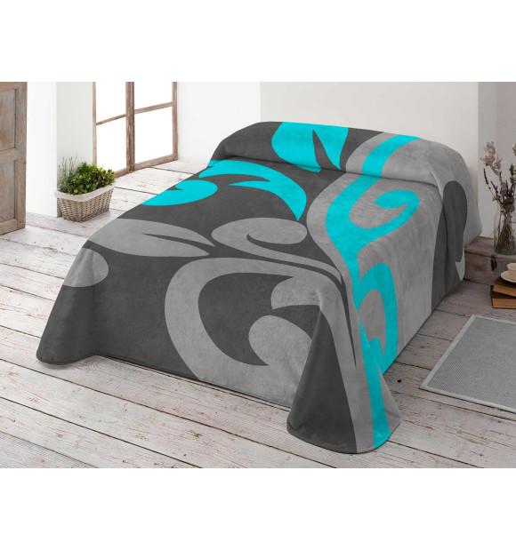 Manta de veludo nas cores cinza e azul com estampa de folhas
