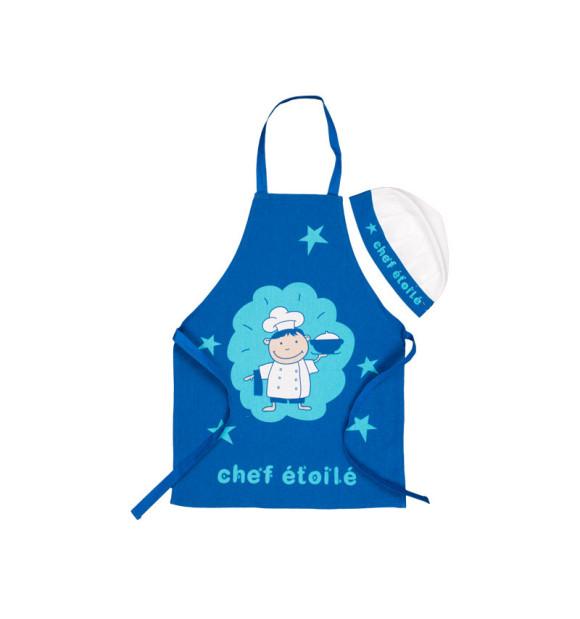 Conjunto de avental e chapéu de chef azul intantil