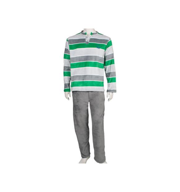 Pijama de seda listrado verde e cinza