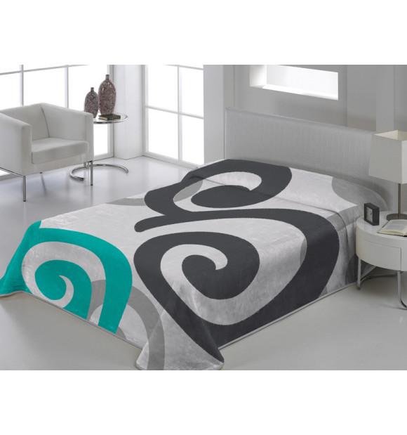 Manta de veludo branco com arabescos cinza e azul
